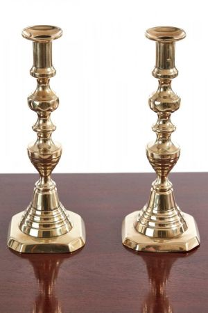 Pair Of Victorian Candlesticks In Brass