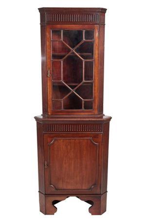 Edwardian Mahogany Glazed Corner Cabinet C.1910