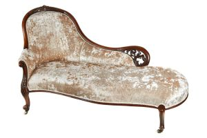 Victorian Carved Walnut Chaise Lounge C.1860