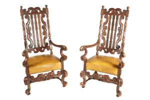 Large Pair Of Charles Ii Style Oak Armchairs C.1860