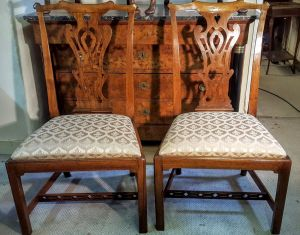 Pair Of 'rare' Walnut Side Chairs