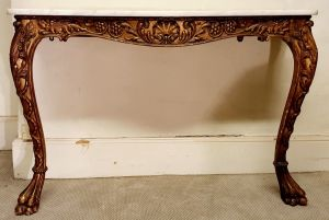 Carved Wood & Gilded Console Table
