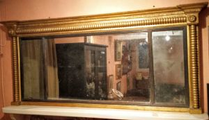 Gilt Regency Neo Classical Trifold Over Mantle Mirror Circa 1800