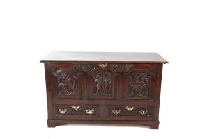19th Century Carved Oak Mule Chest C.1800