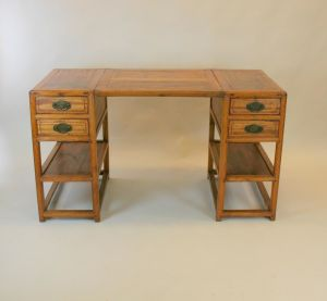 Chinese Elm Pedestal Desk