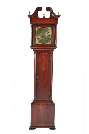 George Ii Brass Free Red Walnut Longcase Clock C. 1750