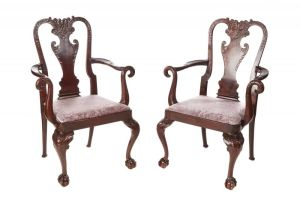 Fine Pair Of Antique Carved Walnut Elbow/desk Chairs