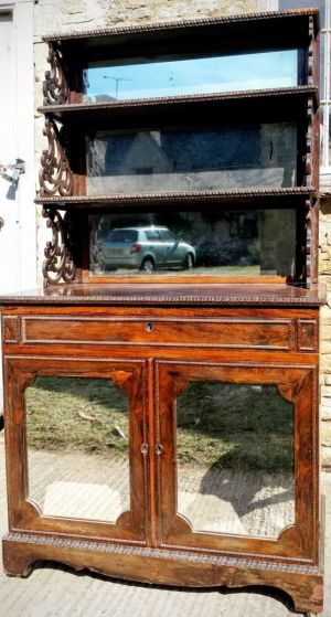 Regency Irish Rosewood Chiffonier With Mirror Back Waterfall Shelf Top