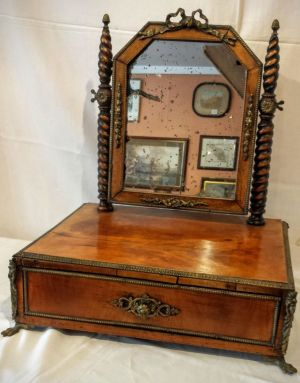 Austro Hungarian Fruitwood Dressing Table Mirror With Ormolu Mounts And Drawer Circa 1800