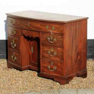 Georgian Antique Mahogany Bow Front Kneehole Desk