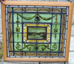A Lovely Painted Window Depicting A Lakeland Scene