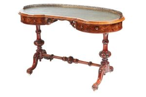 Fine Burr Walnut Kidney Shaped Writing Table C.1850