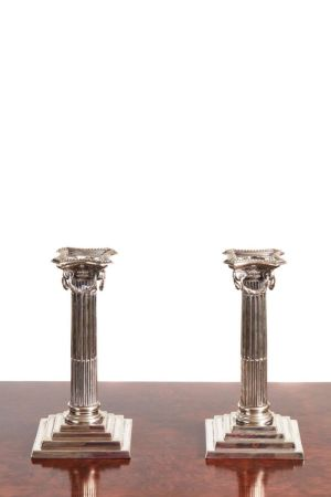 Pair Of Antique Silver Plated Candlesticks