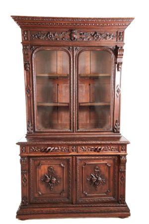 Superb Antique Heavily Carved Oak Bookcase