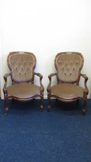 Pair Of Rosewood Open Arm Chairs