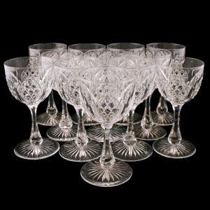 Set Of 12 Edwardian Wine Glasses