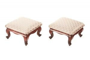 Pair Of Victorian Mahogany Foot Stools C.1860