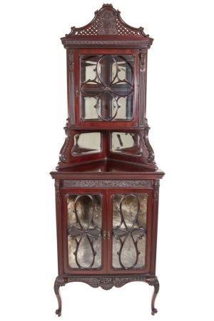 Outstanding Victorian Carved Mahogany Corner Cabinet