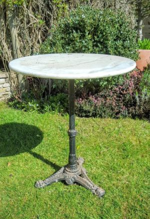 Cast Iron & Marble Top Garden Table