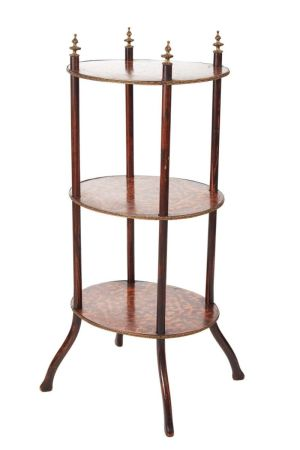 Victorian Three Tier Oval Inlaid Stand C.1860