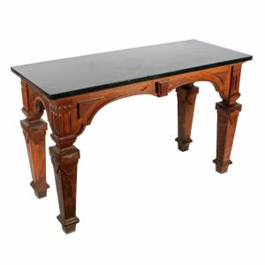 Oak Marble Top Hall Table