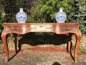Large Louis Xvi French Style President's Bombe Desk