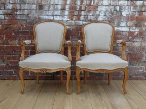 Pair Reupholstered Beech Wood Fauteuil Armchairs