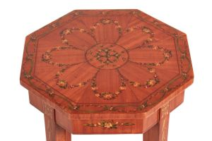 Unusual Painted Satinwood Occasional Table / Lamp Table C.1870