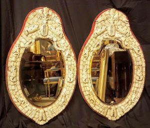 Excellent Pair Of Dieppe Ivory Bevelled Mirrors
