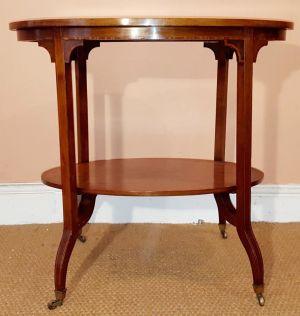 Edwardian Sheraton Revival Oval Mahogany Side Table