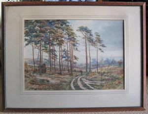 Original Watercolour, Landscape With Scots Pines & Faggot Gatherer By Tom Howe