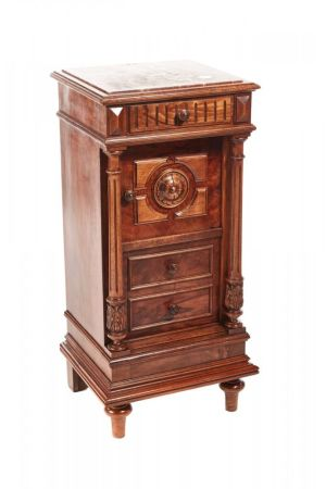 Unusual French Walnut Bedside Cabinet C.1860