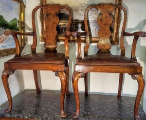 Pair Of George I Style Walnut Carver Chairs