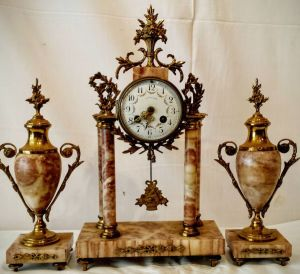 19th Century French Portico Clock Set, Parisian 8 Day Striking Movement With Decorative Urns