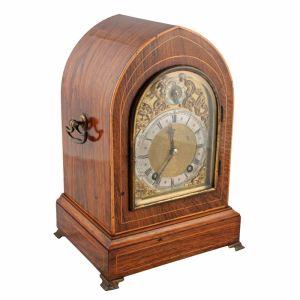Rosewood Inlaid Lancet Clock