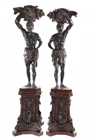 Pair Of Antique Life Size Blackamoor Figures