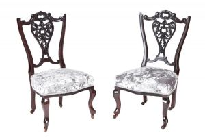 Pair Of Victorian Carved Mahogany Ladies Chairs C. 1870