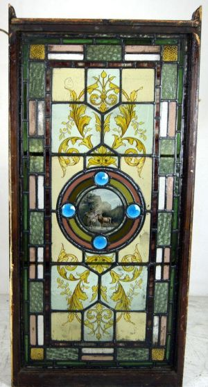 Superb Leaded Glass Window With Multicoloured Borders And Painted Scene