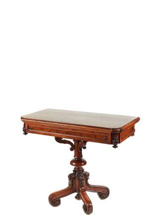 Unusual Victorian Walnut Card Table C.1860