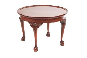 Round Burr Walnut Piecrust Top Coffee Table