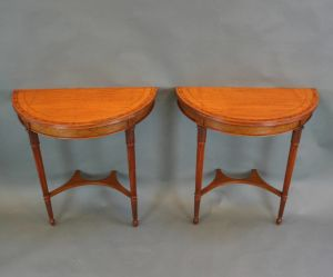 A Pair Of Edwardian Satinwood Console Pier Tables