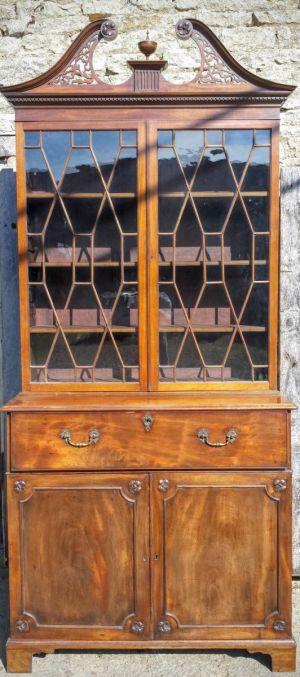 Glazed Georgian Mahogany Secretaire Bookcase