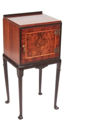 Unusual Burr Walnut Bed Side Cabinet