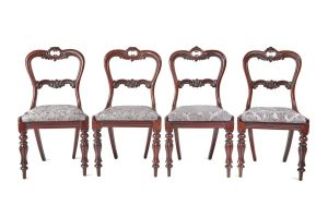 Fine Set Of 4 Victorian Rosewood Dining Chairs C.1850