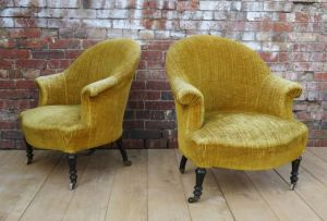 Pair Antique French Armchairs For Re-upholstery