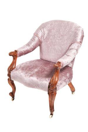 Victorian Carved Walnut Cabriole Leg Armchair C.1860