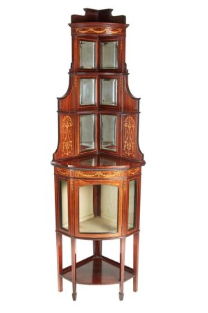 Outstanding Rosewood Inlaid Corner Cabinet