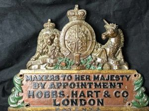 Royal Warrant Coat Of Arms Plaque Hobbs Hart & Co London