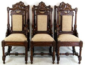 Set Of 6 Country House Carved Oak Chairs