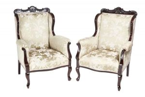Pair Of Carved Mahogany Library Chairs C. 1880